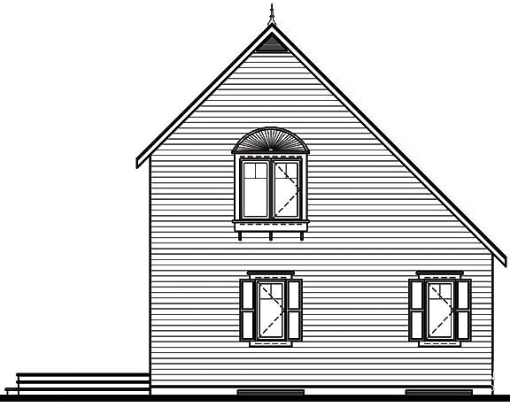 Cabin, Saltbox, Traditional House Plan 65003 with 2 Beds, 2 Baths Rear Elevation