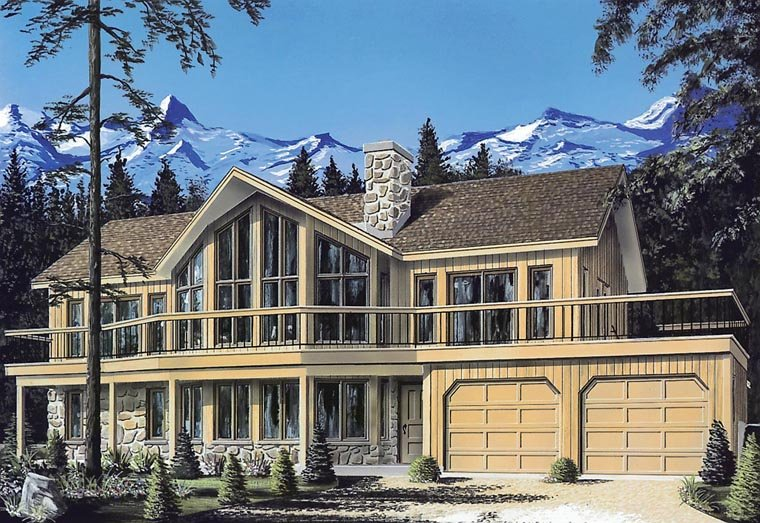 Contemporary, Craftsman, Traditional House Plan 65008 with 4 Beds, 3 Baths, 2 Car Garage Elevation