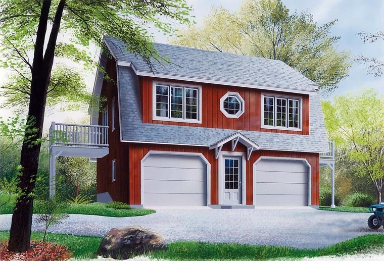 Country 2 Car Garage Apartment Plan 65011 with 2 Beds, 2 Baths Elevation