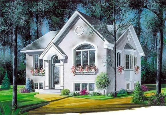 European, Narrow Lot, One-Story House Plan 65037 with 2 Beds, 1 Baths Elevation