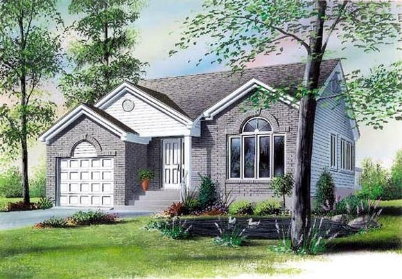 Narrow Lot, One-Story, Traditional House Plan 65063 with 2 Beds, 1 Baths, 1 Car Garage Elevation
