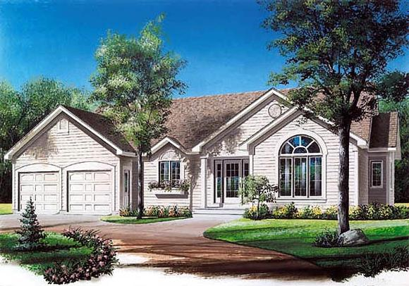 One-Story, Ranch, Traditional House Plan 65077 with 3 Beds, 1 Baths, 2 Car Garage Elevation