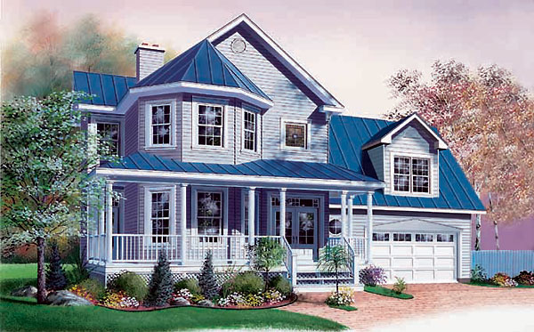 Country, Victorian House Plan 65079 with 3 Beds, 3 Baths, 2 Car Garage Elevation