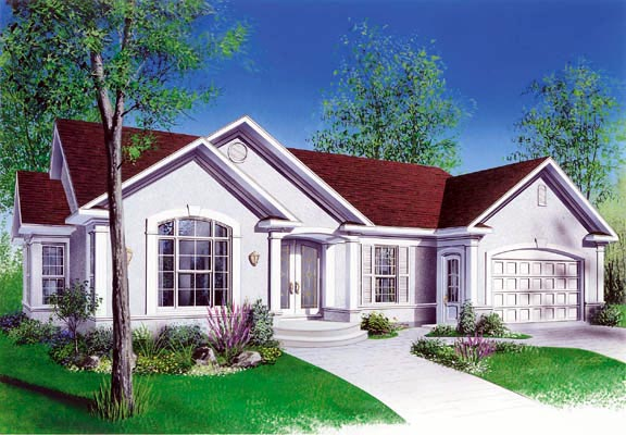 Bungalow, One-Story, Traditional House Plan 65086 with 3 Beds, 1 Baths Elevation