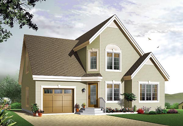 Narrow Lot, Traditional House Plan 65114 with 3 Beds, 2 Baths, 1 Car Garage Elevation
