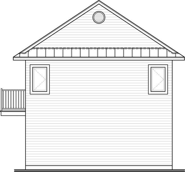 Traditional 2 Car Garage Apartment Plan 65215 with 2 Beds, 2 Baths Rear Elevation