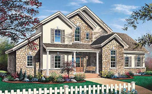 Traditional House Plan 65234 with 3 Beds, 3 Baths, 2 Car Garage Elevation