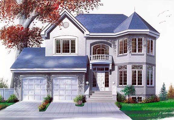 Victorian House Plan 65252 with 3 Beds, 3 Baths, 2 Car Garage Elevation