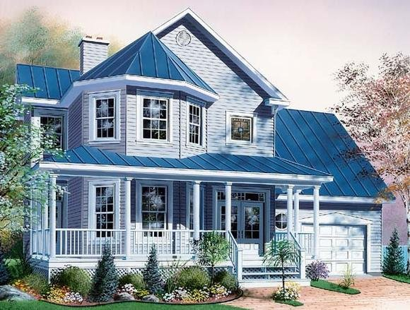 Country, Victorian House Plan 65254 with 3 Beds, 3 Baths, 1 Car Garage Elevation