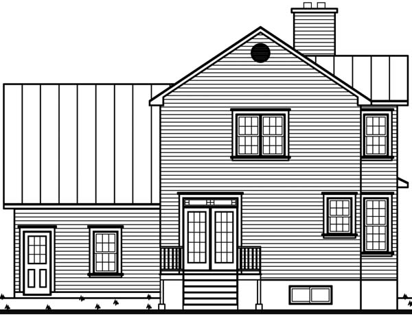 Country, Victorian House Plan 65254 with 3 Beds, 3 Baths, 1 Car Garage Rear Elevation