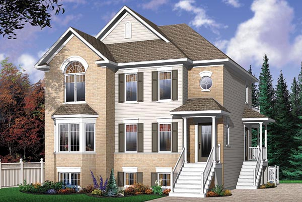 Narrow Lot, Traditional Multi-Family Plan 65340 with 6 Beds, 3 Baths Elevation