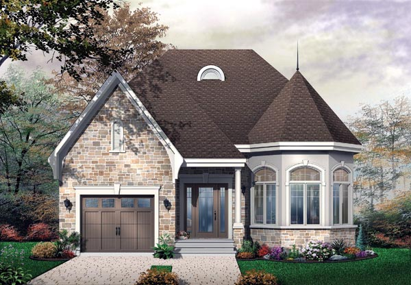 Narrow Lot, One-Story, Victorian House Plan 65356 with 2 Beds, 1 Baths, 1 Car Garage Elevation