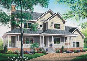 Country, Traditional House Plan 65378 with 3 Beds, 3 Baths, 2 Car Garage Elevation