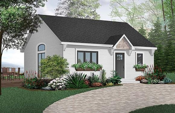Cabin, Cape Cod House Plan 65386 with 1 Beds, 1 Baths Elevation