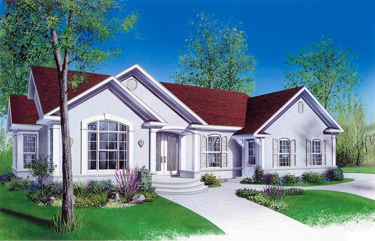 Bungalow, Florida, Ranch, Traditional House Plan 65391 with 4 Beds, 2 Baths, 2 Car Garage Elevation