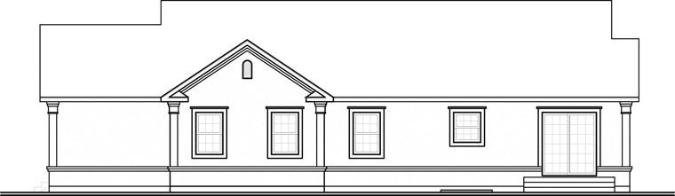 Bungalow, Florida, Ranch, Traditional House Plan 65391 with 4 Beds, 2 Baths, 2 Car Garage Rear Elevation