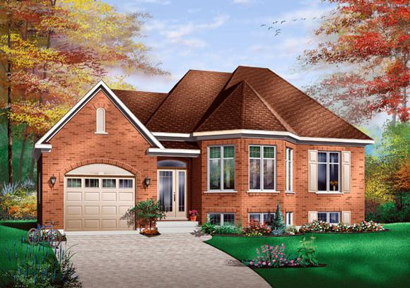 Contemporary, European House Plan 65415 with 2 Beds, 1 Baths, 1 Car Garage Elevation