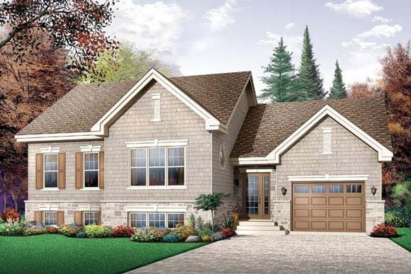 Craftsman, Narrow Lot, One-Story, Traditional House Plan 65449 with 2 Beds, 1 Baths, 1 Car Garage Elevation