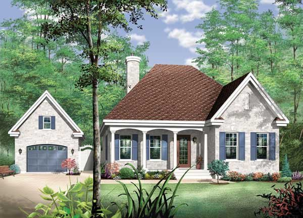European, One-Story House Plan 65466 with 2 Beds, 1 Baths, 1 Car Garage Elevation