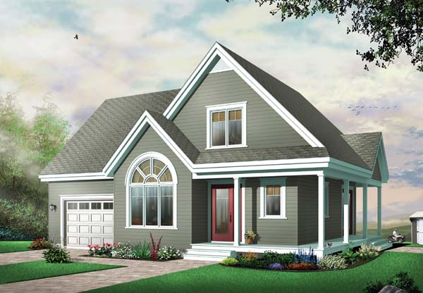Country, Traditional House Plan 65487 with 3 Beds, 2 Baths, 1 Car Garage Elevation