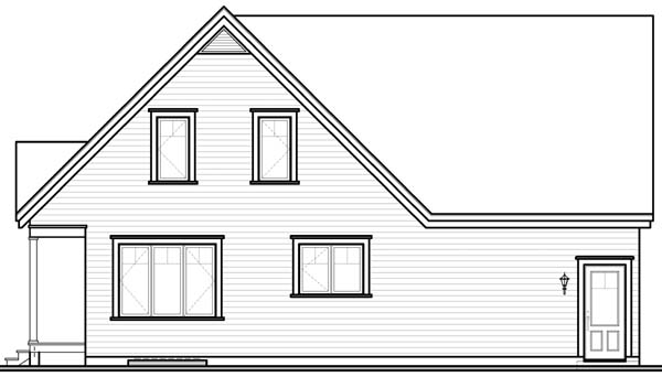 Country, Traditional House Plan 65487 with 3 Beds, 2 Baths, 1 Car Garage Rear Elevation