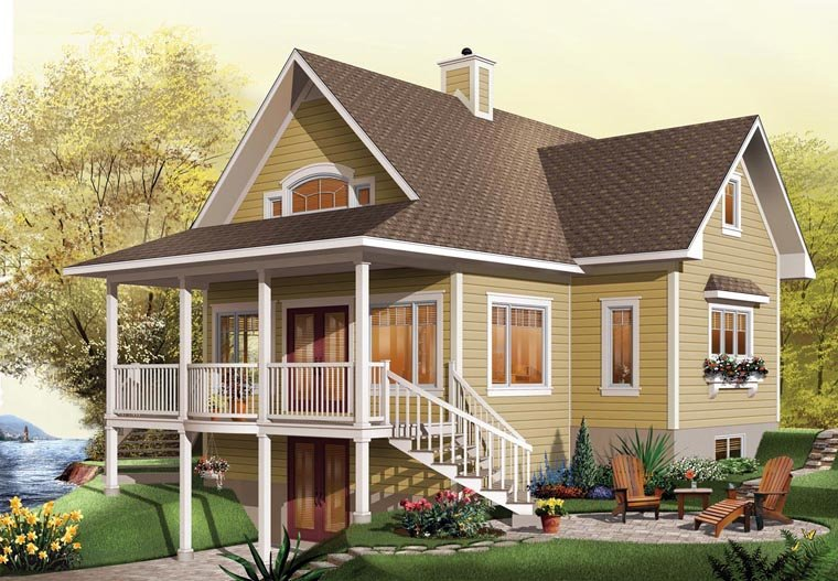 Coastal, Country, Craftsman, Traditional House Plan 65517 with 2 Beds, 2 Baths Elevation