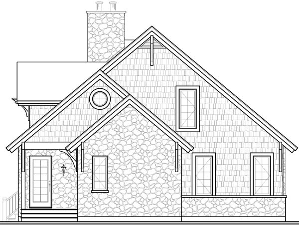 Country, Craftsman, European House Plan 65519 with 3 Beds, 2 Baths Rear Elevation