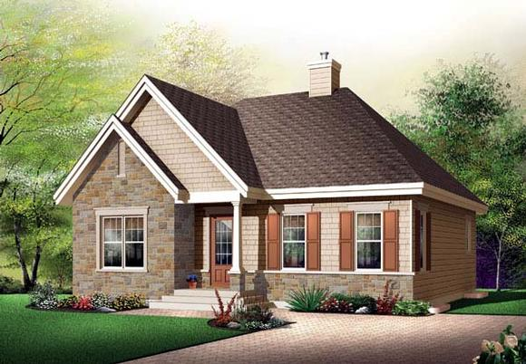 Bungalow, Country House Plan 65521 with 2 Beds, 1 Baths Elevation