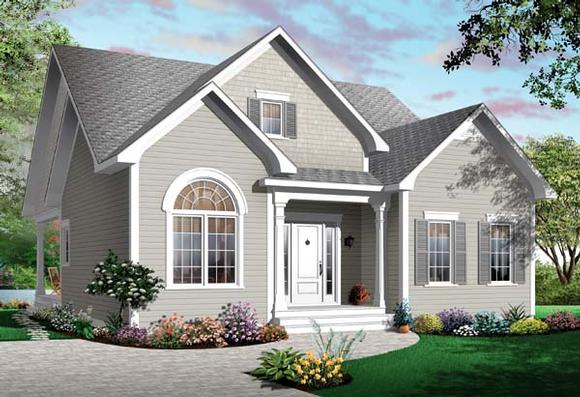 Bungalow House Plan 65537 with 3 Beds, 1 Baths Elevation