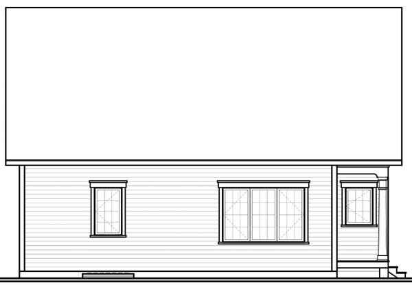 Bungalow House Plan 65537 with 3 Beds, 1 Baths Rear Elevation