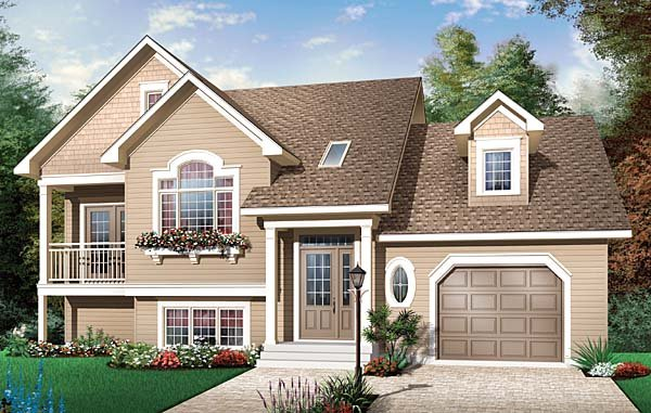Country House Plan 65551 with 3 Beds, 2 Baths, 1 Car Garage Elevation