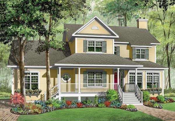 Country, Farmhouse House Plan 65564 with 3 Beds, 3 Baths, 2 Car Garage Elevation
