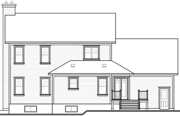 Country, Farmhouse House Plan 65564 with 3 Beds, 3 Baths, 2 Car Garage Rear Elevation