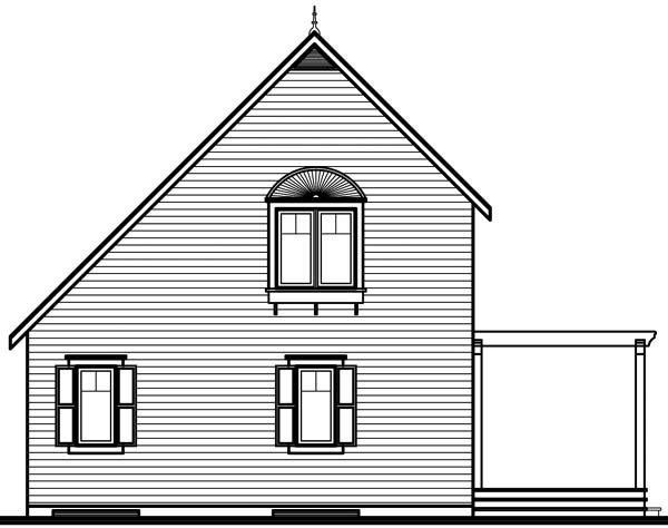 Traditional House Plan 65577 with 3 Beds, 2 Baths Rear Elevation