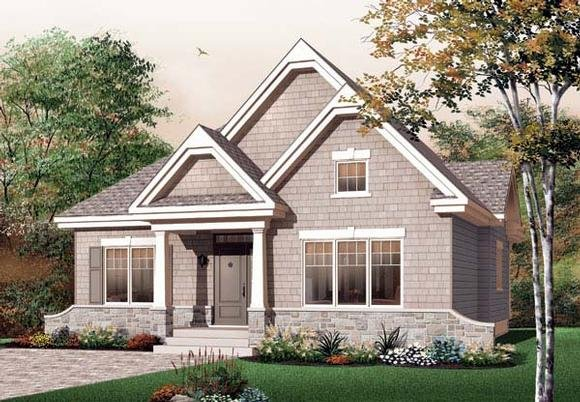 Bungalow, Country, Craftsman, European House Plan 65594 with 3 Beds, 1 Baths Elevation