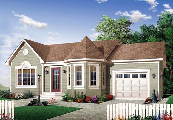 Bungalow, Country, Victorian House Plan 65599 with 2 Beds, 1 Baths, 1 Car Garage Elevation