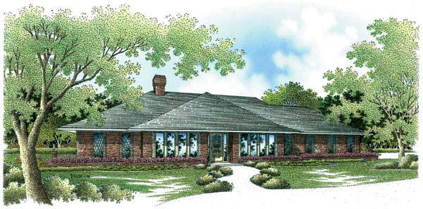 Contemporary, Prairie, Southwest House Plan 65606 with 4 Beds, 4 Baths, 3 Car Garage Elevation
