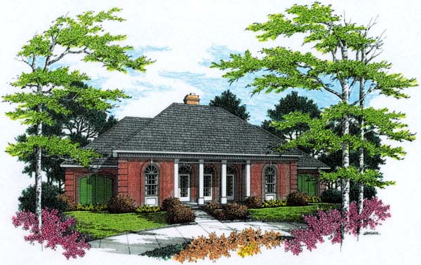European, One-Story House Plan 65630 with 3 Beds, 2 Baths, 2 Car Garage Elevation