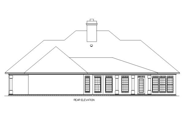 European, One-Story House Plan 65630 with 3 Beds, 2 Baths, 2 Car Garage Rear Elevation