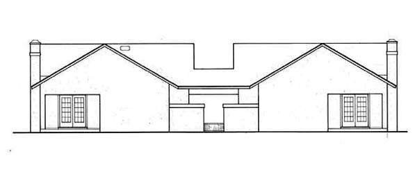 Florida, One-Story Multi-Family Plan 65708 with 4 Beds, 4 Baths Rear Elevation