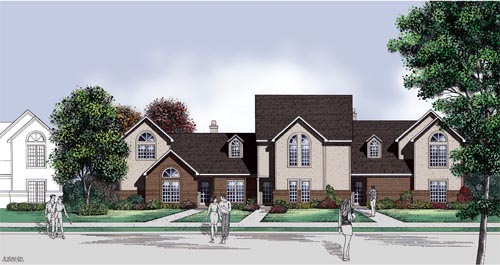 Traditional Multi-Family Plan 65711 with 8 Beds, 8 Baths Elevation