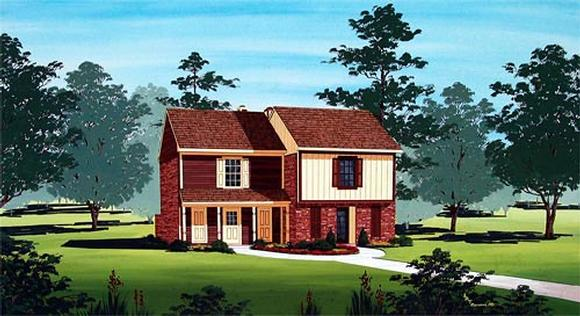 Narrow Lot Multi-Family Plan 65716 with 4 Beds, 4 Baths Elevation