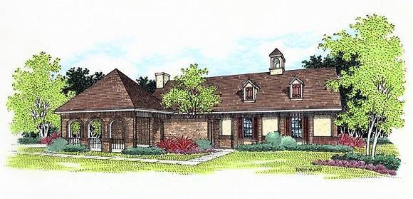 European, One-Story House Plan 65749 with 3 Beds, 2 Baths, 2 Car Garage Elevation