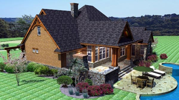 Cottage, Craftsman, Tuscan House Plan 65862 with 3 Beds, 3 Baths, 2 Car Garage Picture 2