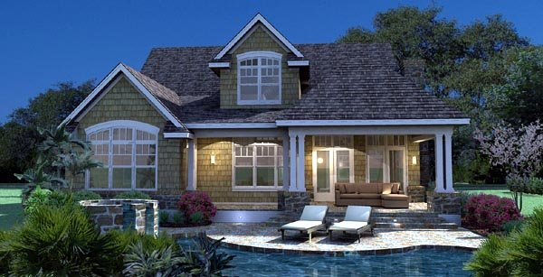 Cottage, Craftsman, Southern, Traditional, Tuscan House Plan 65868 with 3 Beds, 3 Baths, 2 Car Garage Rear Elevation