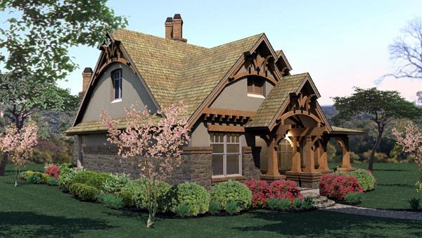 Bungalow, Cottage, Craftsman, Tuscan House Plan 65870 with 3 Beds, 2 Baths, 2 Car Garage Picture 3