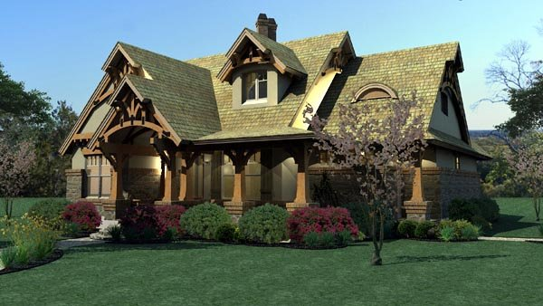 Bungalow, Cottage, Craftsman, Tuscan House Plan 65870 with 3 Beds, 2 Baths, 2 Car Garage Picture 4