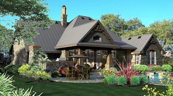 Craftsman, Tuscan House Plan 65871 with 3 Beds, 3 Baths, 2 Car Garage Rear Elevation