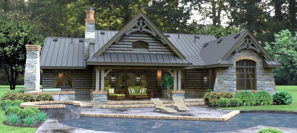 Cottage, Country, Tuscan House Plan 65874 with 3 Beds, 3 Baths, 2 Car Garage Rear Elevation