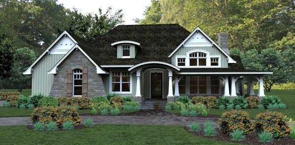 Bungalow, Cottage, Country, Tuscan House Plan 65875 with 3 Beds, 3 Baths, 2 Car Garage Elevation
